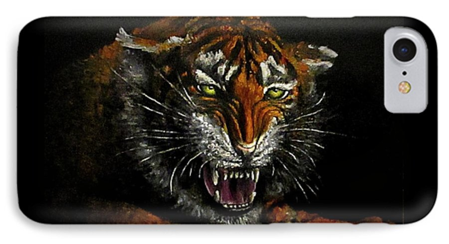 Animal IPhone 7 Case featuring the painting Tiger-1 Original Oil Painting by Natalja Picugina