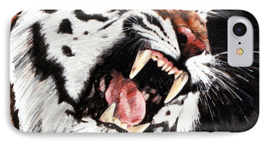 Tiger Roaring IPhone 7 Case featuring the painting Tiger by John Lautermilch
