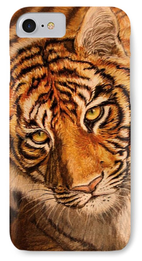 Tiger IPhone 7 Case featuring the drawing Tiger by Karen Ilari