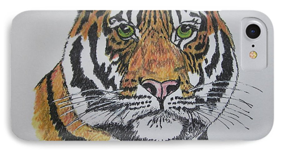 Bengal IPhone 7 Case featuring the painting Tiger by Kathy Marrs Chandler