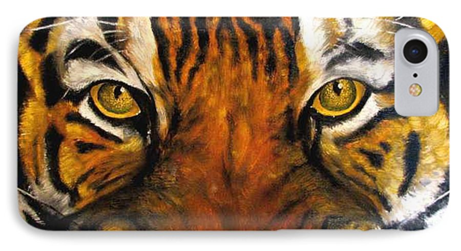 Tiger IPhone 7 Case featuring the painting Tiger Mask Original Oil Painting by Natalja Picugina