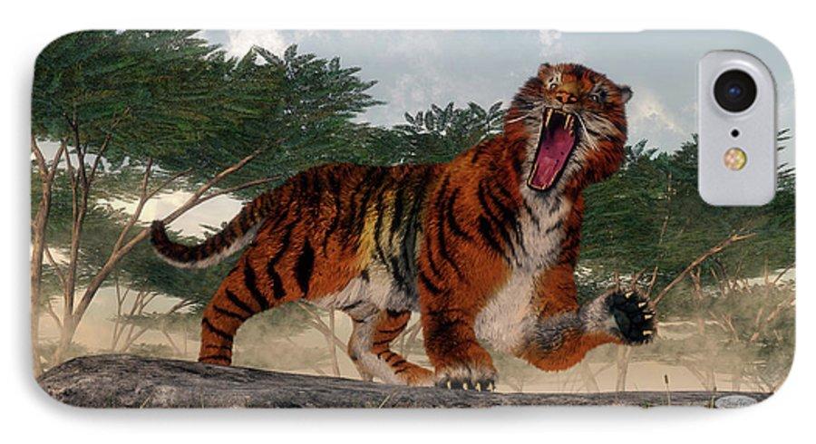 Tiger IPhone 7 Case featuring the photograph Tiger roaring - 3D render by Elenarts - Elena Duvernay Digital Art