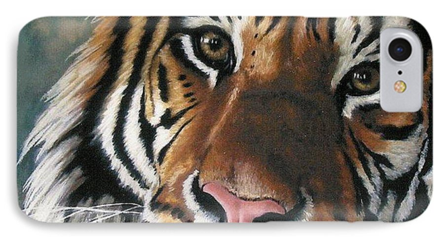 Tiger IPhone 7 Case featuring the pastel Tigger by Barbara Keith