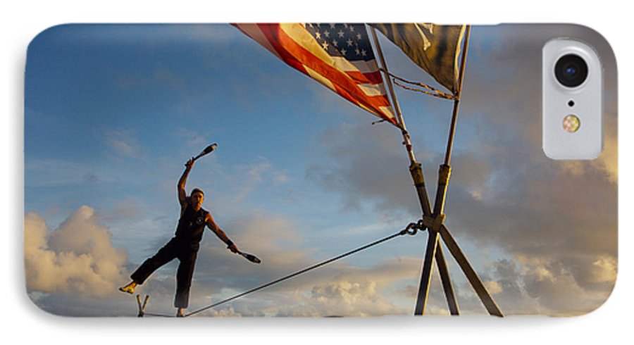 Balance IPhone 7 Case featuring the photograph Tight Rope Walker In Key West by Carl Purcell