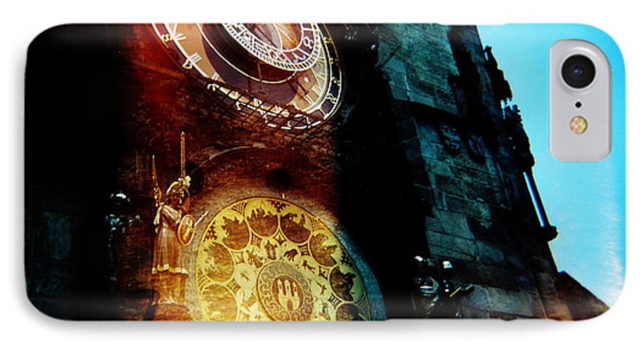 Clock Time Holga Color Photograph Praha IPhone 7 Case featuring the photograph Time Is Burning by Olivier De Rycke