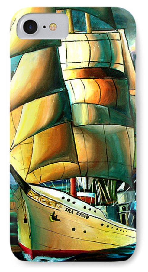 Ship IPhone 7 Case featuring the drawing Timeless by Darcie Duranceau