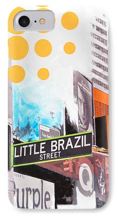 Ny IPhone 7 Case featuring the painting Times Square Little Brazil by Jean Pierre Rousselet