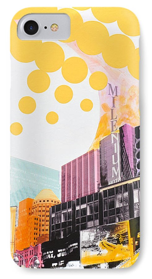 Ny IPhone 7 Case featuring the painting Times Square Milenium Hotel by Jean Pierre Rousselet