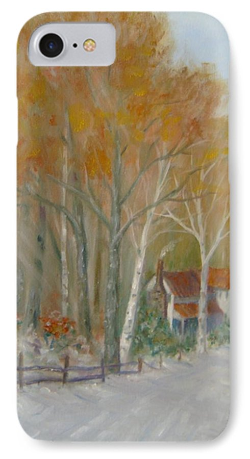 Country Road; House; Snow IPhone 7 Case featuring the painting To Grandma's House by Ben Kiger