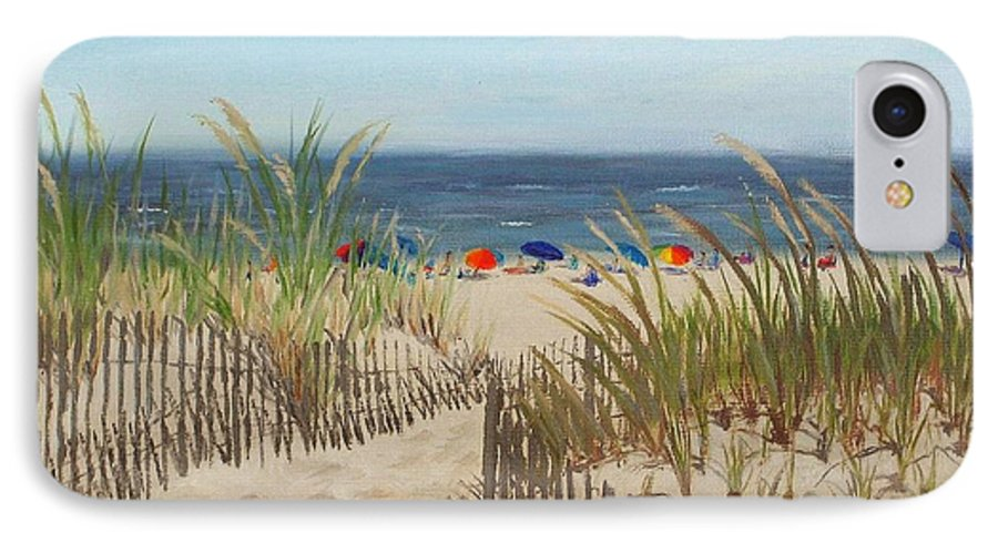 Beach IPhone 7 Case featuring the painting To The Beach by Lea Novak
