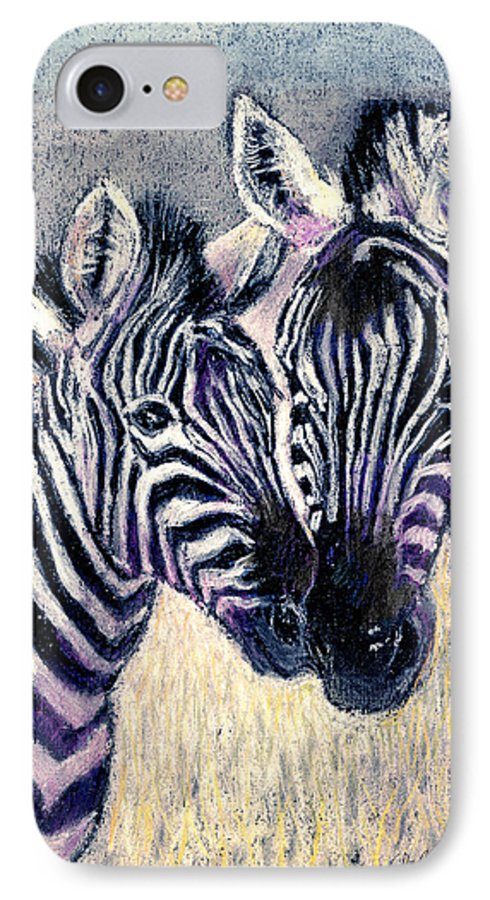 Zebras IPhone 7 Case featuring the pastel Together by Arline Wagner