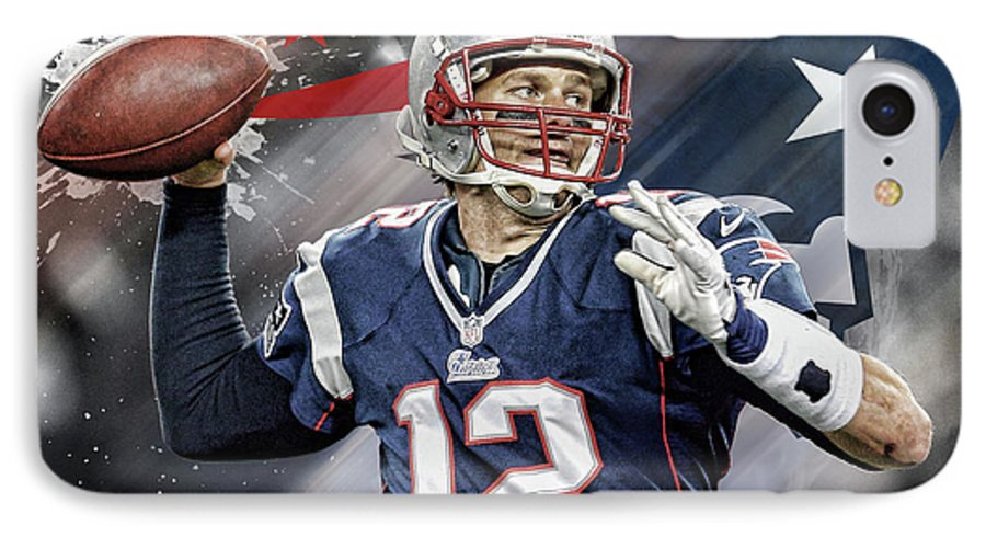 Tom Brady IPhone 7 Case featuring the digital art Tom Brady New England Patriots by Nicholas Legault