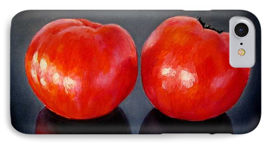 Tomatoes IPhone 7 Case featuring the painting Tomatoes Original Oil Painting by Natalja Picugina