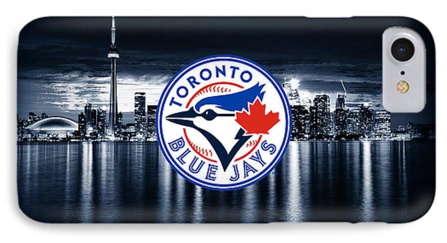 Toronto IPhone 7 Case featuring the digital art Toronto Blue Jays City by Nicholas Legault