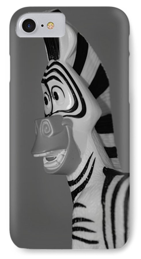 Black And White IPhone 7 Case featuring the photograph Toy Zebra by Rob Hans