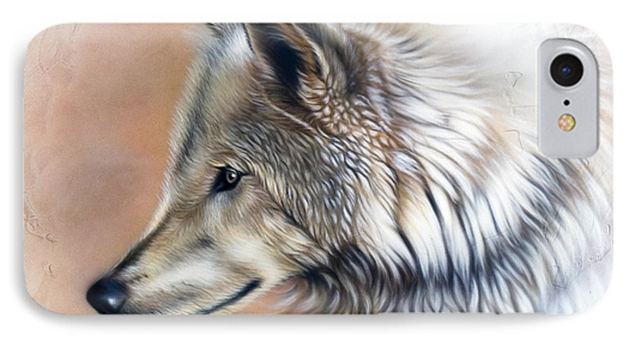 Wolves IPhone 7 Case featuring the painting Trace IIi by Sandi Baker