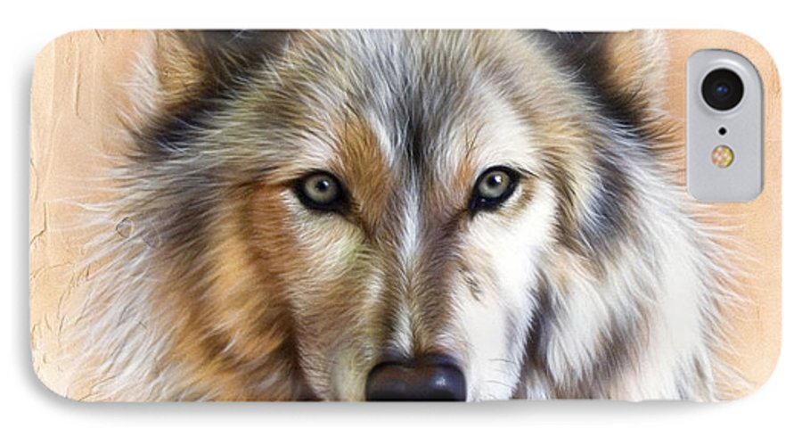 Wolves IPhone 7 Case featuring the painting Trace Two by Sandi Baker