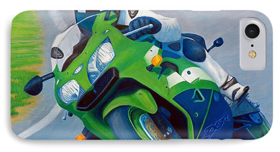 Motorcycle IPhone 7 Case featuring the painting Track Day - Kawasaki Zx9 by Brian Commerford