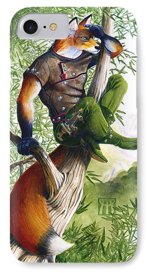 Fantasy IPhone 7 Case featuring the painting Trail Blazing Fox by Melissa A Benson