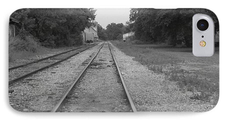 Train IPhone 7 Case featuring the photograph Train To Nowhere by Rhonda Barrett