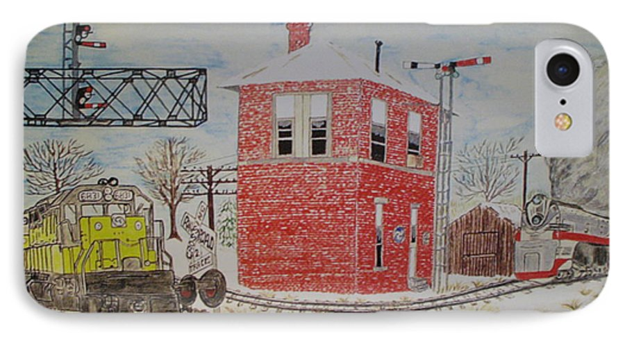 Train IPhone 7 Case featuring the painting Trains In Motion by Kathy Marrs Chandler