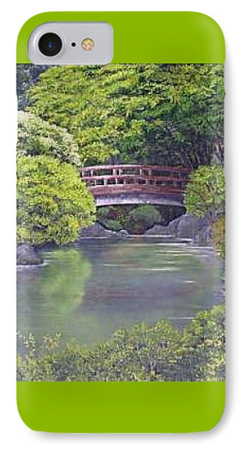 This Peaceful Scene Is An Artist's Rendition Of The Japanese Gardens IPhone Case featuring the painting Tranquility by Darla Boljat