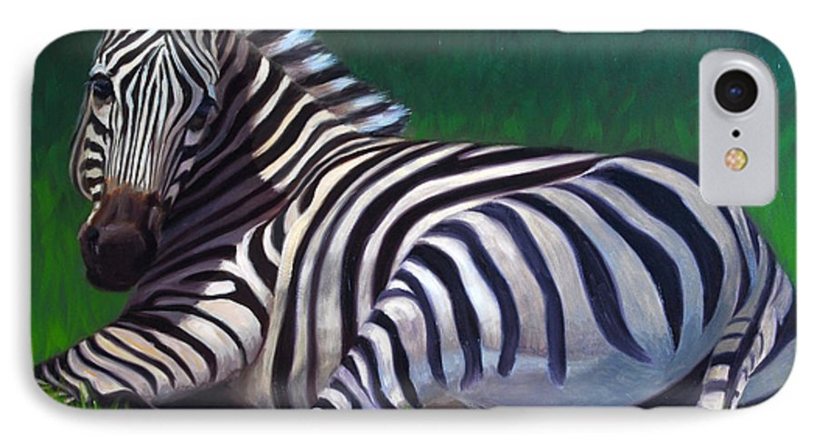 Zebra IPhone 7 Case featuring the painting Tranquility by Greg Neal