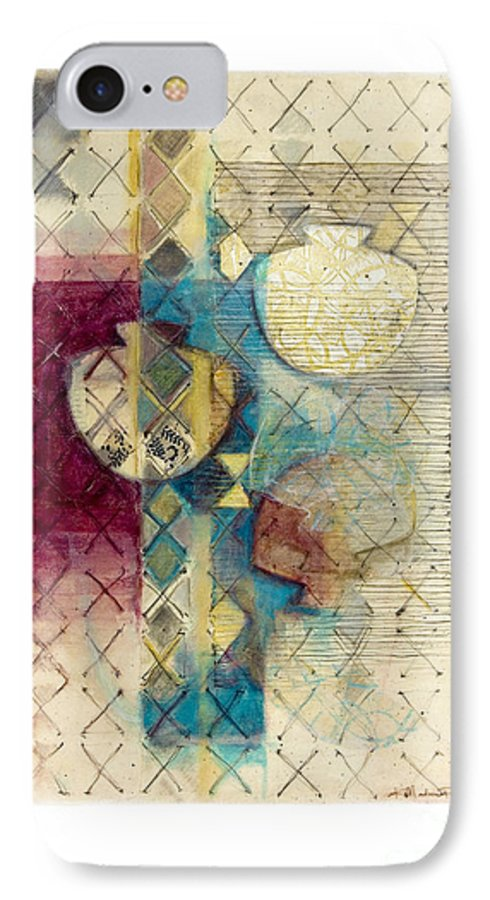 Mixed-media IPhone 7 Case featuring the painting Trans Xs No 1 by Kerryn Madsen- Pietsch