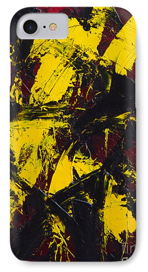 Abstract IPhone 7 Case featuring the painting Transitions With Yelllow And Black by Dean Triolo