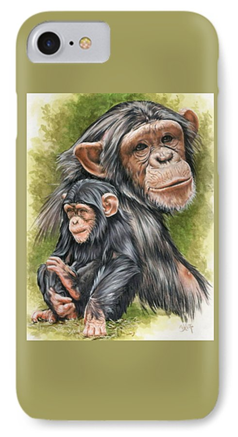 Chimpanzee IPhone 7 Case featuring the mixed media Treasure by Barbara Keith