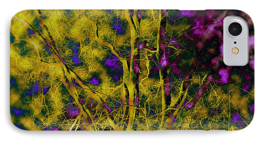 Abstract IPhone 7 Case featuring the photograph Tree Glow by Linda Sannuti