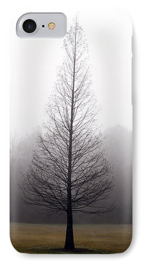 Scenic IPhone 7 Case featuring the photograph Tree In Fog by Ayesha Lakes