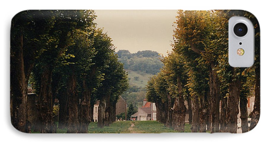 Trees IPhone 7 Case featuring the photograph Tree Lined Pathway In Lyon France by Nancy Mueller