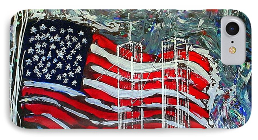 American Flag IPhone 7 Case featuring the mixed media Tribute by J R Seymour