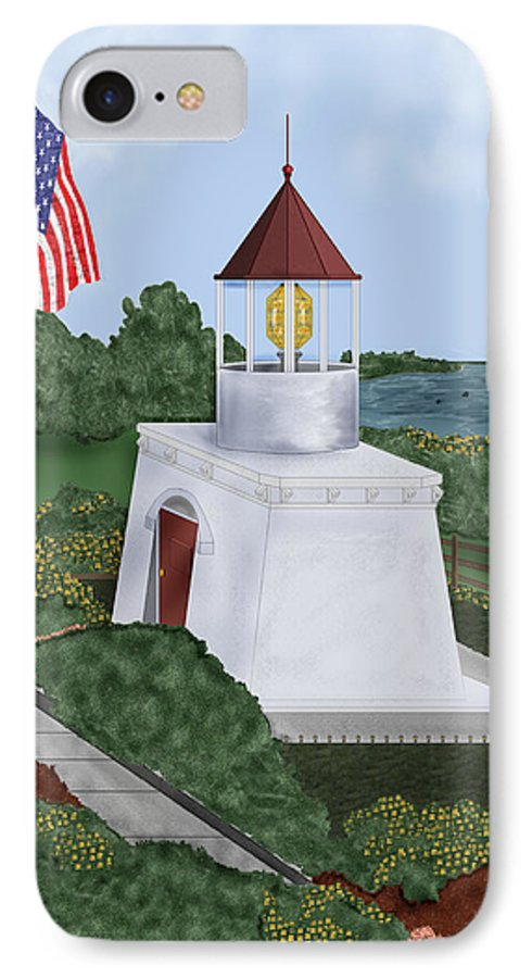 Trinidad Memorial IPhone 7 Case featuring the painting Trinidad Memorial Lighthouse by Anne Norskog