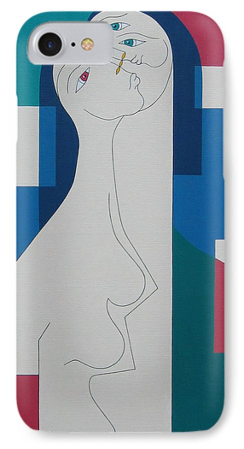 Modern Women Bleu Green Red Humor IPhone 7 Case featuring the painting Trio by Hildegarde Handsaeme