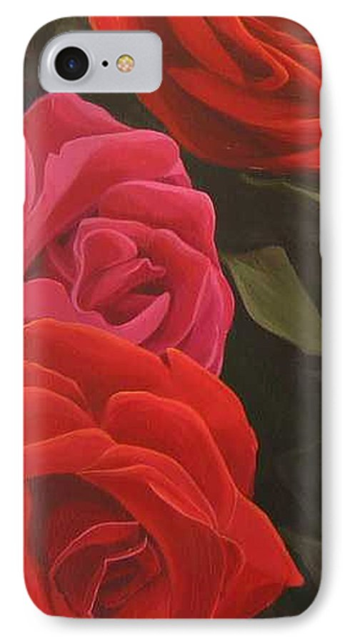 Roses In Italy IPhone 7 Case featuring the painting Trio by Hunter Jay