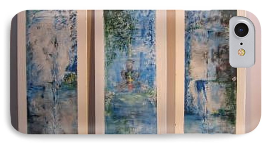 Meditation IPhone 7 Case featuring the painting Triptych Spiritual Meditation by Lizzy Forrester