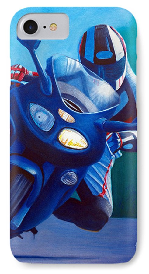Motorcycle IPhone 7 Case featuring the painting Triumph Sprint - Franklin Canyon by Brian Commerford