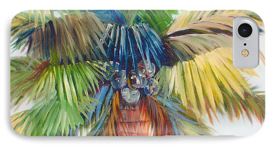 Palm IPhone 7 Case featuring the painting Tropical Palm Inn by Susan Kubes