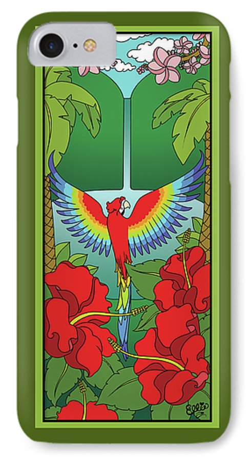 Tropical IPhone 7 Case featuring the digital art Tropical Paradise by Eleanor Hofer