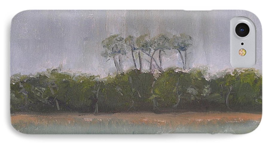 Landscape Beach Coast Tree Water IPhone 7 Case featuring the painting Tropical Storm by Patricia Caldwell