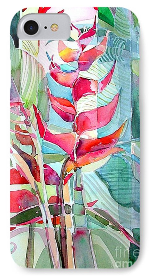 Landscape IPhone 7 Case featuring the painting Tropicana Red by Mindy Newman