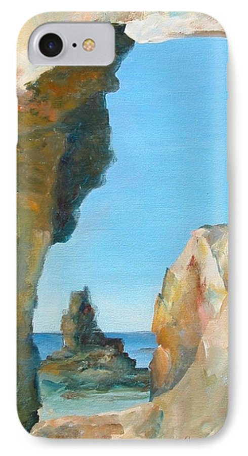 Paysage IPhone 7 Case featuring the painting Trouee 1 by Muriel Dolemieux