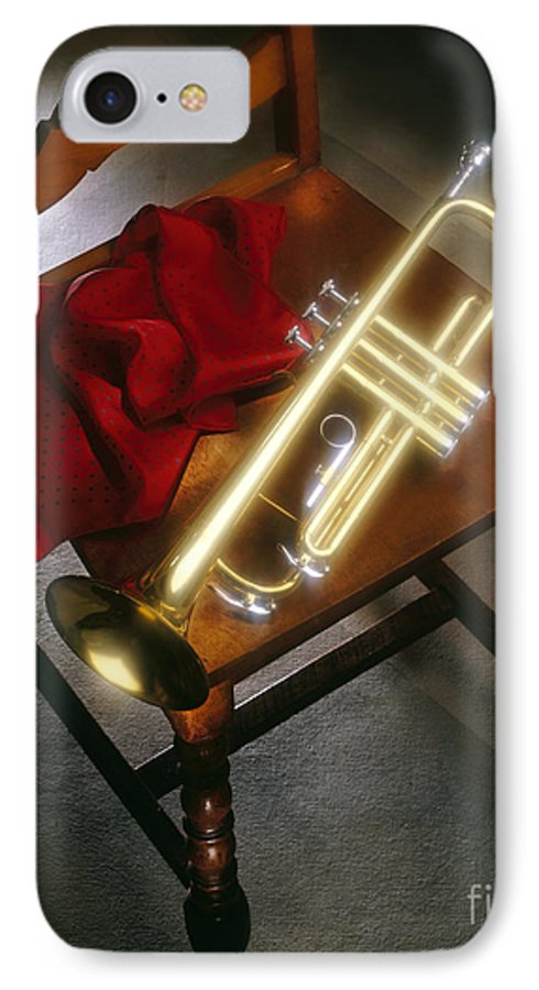 Trumpet IPhone 7 Case featuring the photograph Trumpet On Chair by Tony Cordoza