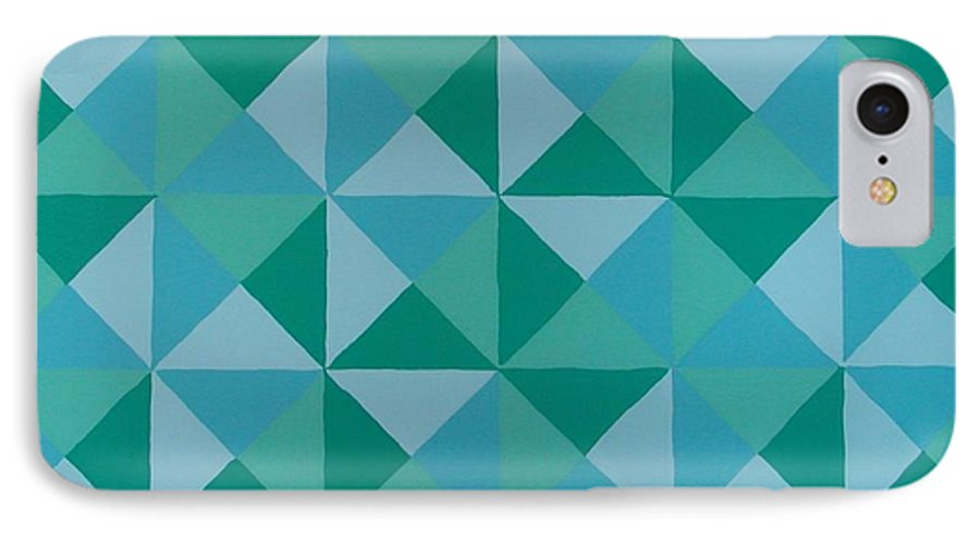 Triangles IPhone 7 Case featuring the painting Trying Any Angle by Gay Dallek