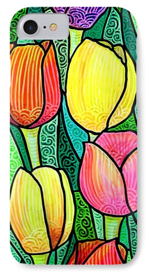 Tulips IPhone 7 Case featuring the painting Tulip Expo by Jim Harris