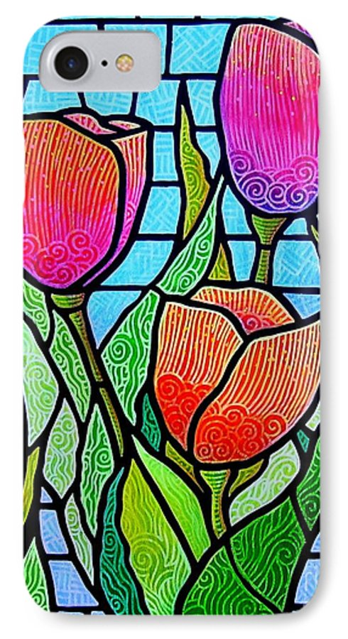 Tulips IPhone 7 Case featuring the painting Tulip Garden by Jim Harris