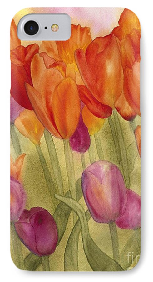 Tulips IPhone 7 Case featuring the painting Tulip Glory by Louise Magno