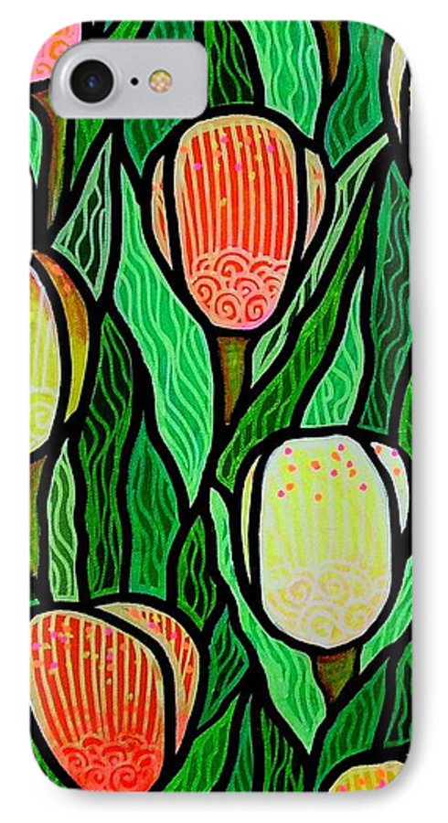 Tulips IPhone 7 Case featuring the painting Tulip Joy 2 by Jim Harris